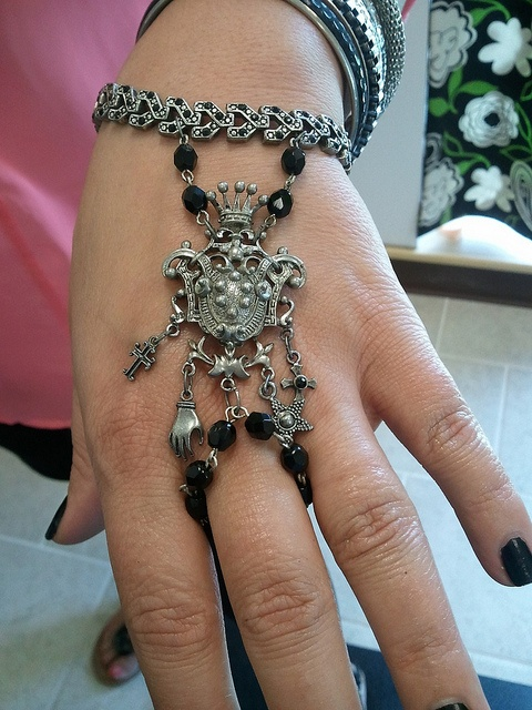 Hand Bracelet ~ All vintage pieces except for jump rings :).....inspired by B'sue video~~ vintiquejools