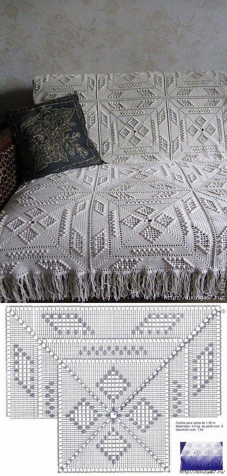 Colcha em crochê (com gráfico dos quadros)
