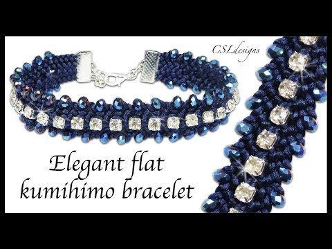 CSL DESIGNS.  Elegant flat kumihimo bracelet.  Beaded.