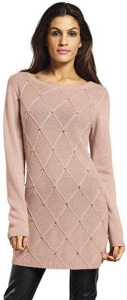 Стильный пуловер спицами с ромбами . Женский длинный пуловер спицами схема | Домоводство для всей семьи