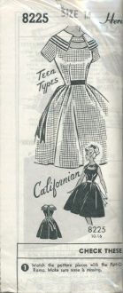 """An original ca. 1950's Patt-O-Rama Pattern 8225.  """"Teen Types-Californian"""" - One-piece dress with set-in short sleeves or sleeveless.  Bodice is dart-fitted and can be finished out with a collarless high circular neckline or with a double layered wide collar.  Front center of bodice has wide keyhole slot design that can be adorned with buttons on each side for collarless version.  Skirt is a fully-flared gored skirt."""
