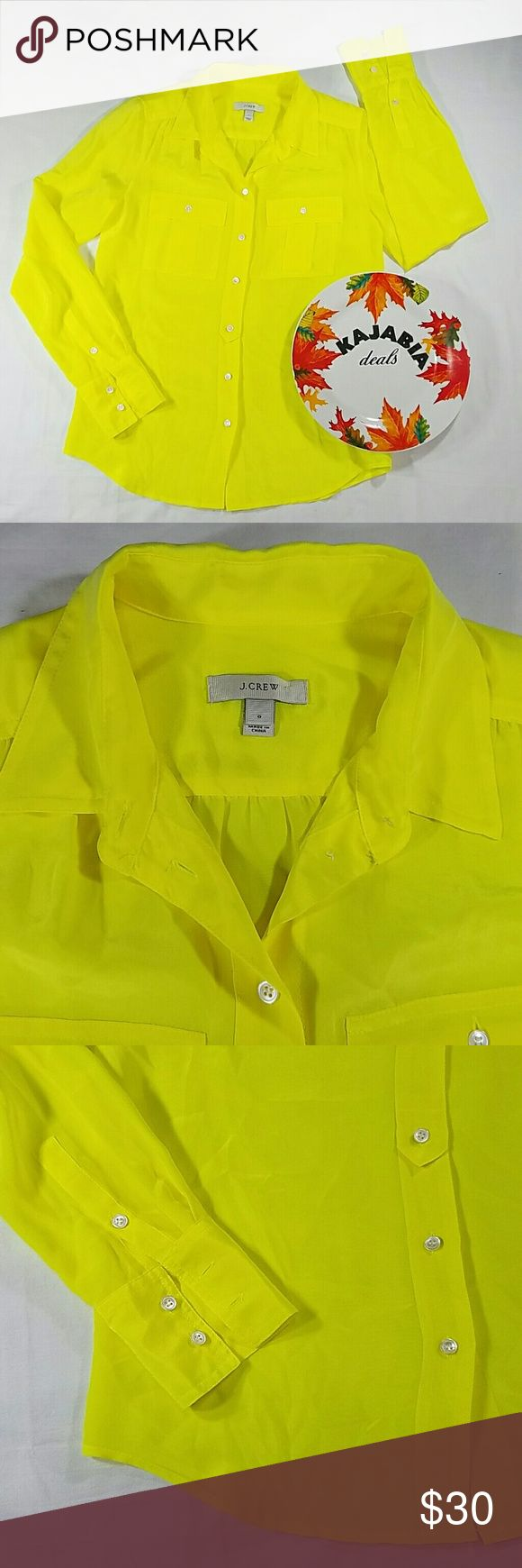 """💥NEW LISTING💥J.CREW 100%Silk Top. Size 0 Excellent condition J. Crew Long sleeve Button down Size.. 0 Pre owned. No rips. No spots Color.. neon yellow Fabric..100% silk Measurements..18"""" pit to pit..25"""" length Nice looking and in perfect condition Wear it with skinny jeans and boots this season... easy to wear up and down Dry clean only..  Perfect for any occasion!!  🚫NO TRADES 🚫NO MODELING 🔵REASONABLE OFFERS WELCOME !! J. Crew Tops Button Down Shirts"""