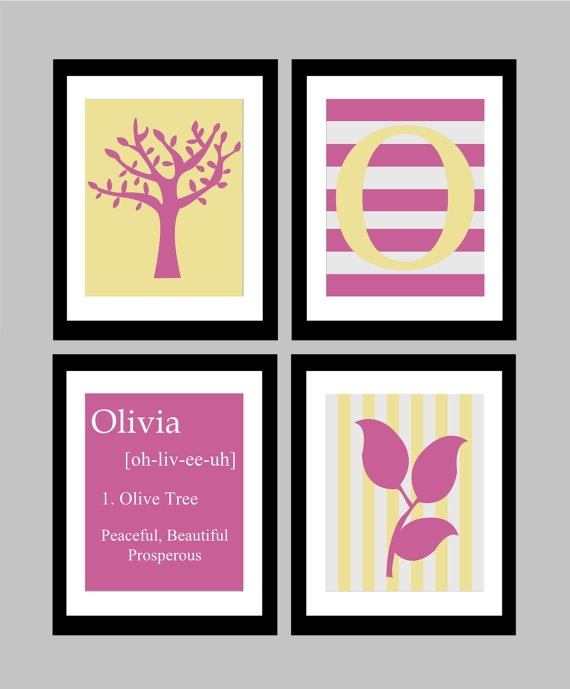 """Personalize your own custom wall prints!    Here we have a set of four original 8x10 nature themed wall prints, available by custom order. Tell me your child's name in the """"note to seller"""" section to have his/her very own baby name definition print made, as well as a custom initial print! Here you see the print in red and blue, but I can make it in any colour you would like to match your child's bedroom!"""