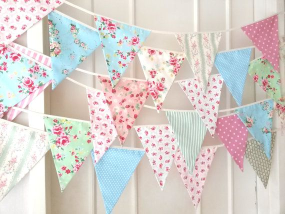 Shabby Chic Fabric Banners Bunting Garland Wedding by BerryAlaMode