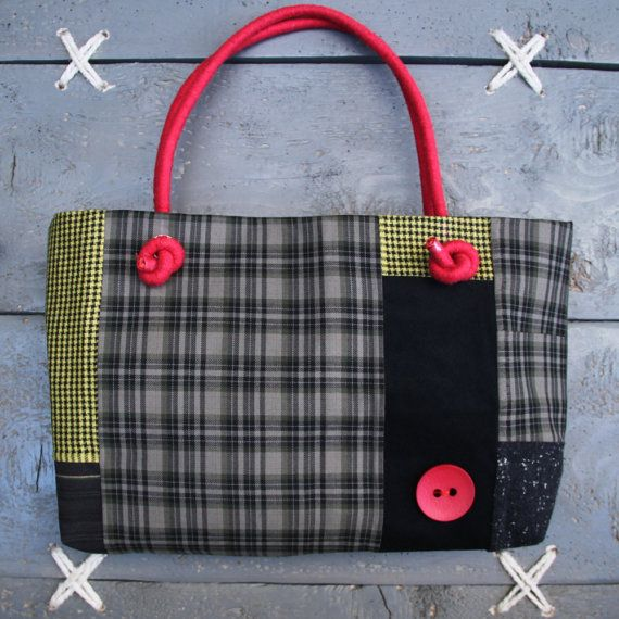 'Eating the goober' handmade everyday handbag/tote bag made from recycled men's pants combined with new fabrics.Colors grey, black, red, yellow