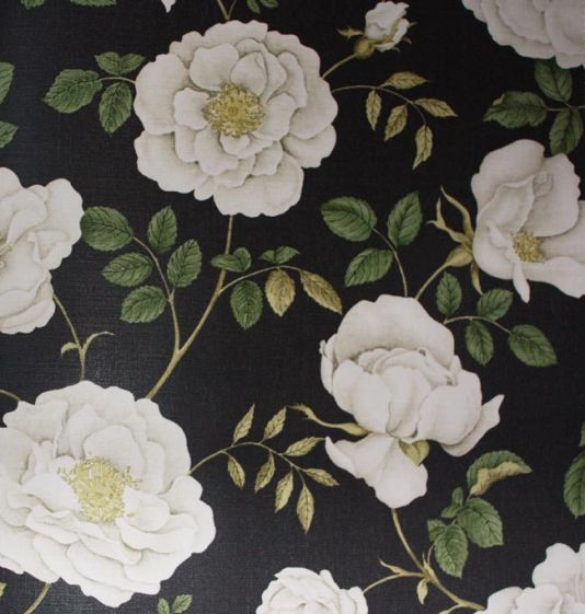 Rosalie Fabric Cream and stone flowers, with sage leaves on a charcoal background.