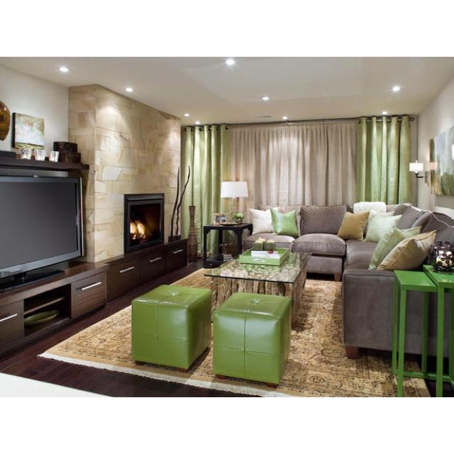 Candace Olsen.. Divine Design Basement - fireplace & TV layout / sectional sofa