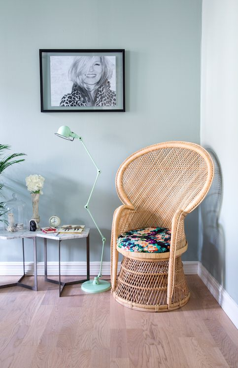rikkesroom, peacock chair, kate moss, green