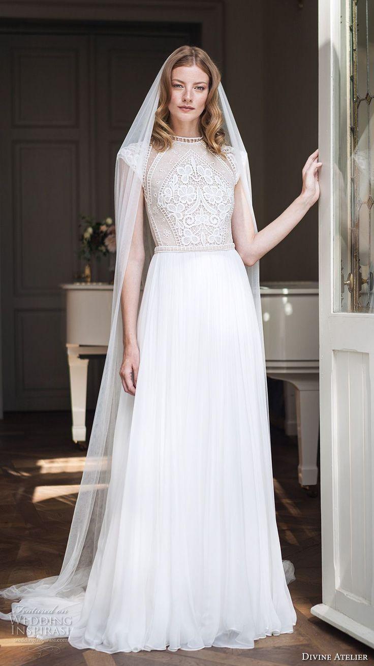 divine atelier 2017 bridal cap sleeves round jewel neck heavily embellished bodice tulle skirt elegant modified a line wedding dress sweep train (unnamed04) mv
