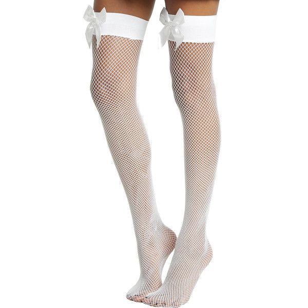 Hot Topic Blackheart White Fishnet Bow Thigh Highs (60 NOK) ❤ liked on Polyvore featuring intimates, hosiery, socks, white socks, sexy hosiery, white thigh high socks, bow socks and fishnet hosiery