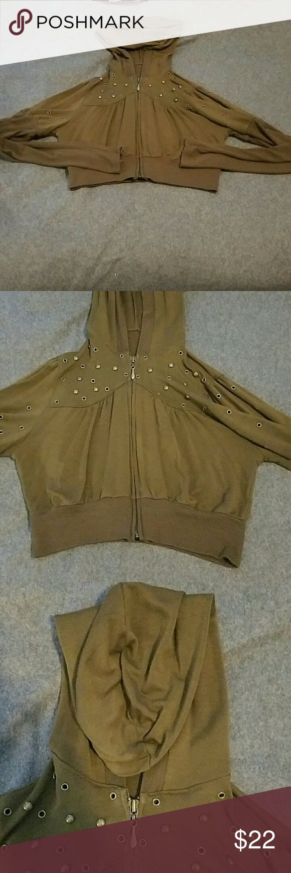 Olive green crop top hoodie sz M Brand unknown, had to cut out tag because it was itching me - all l remember is that l bought it at Hot Topic, size Medium, crop top, cuts off just below rib cage, gold-ish metal studs around collar, long sleeved Hot Topic Tops Sweatshirts & Hoodies