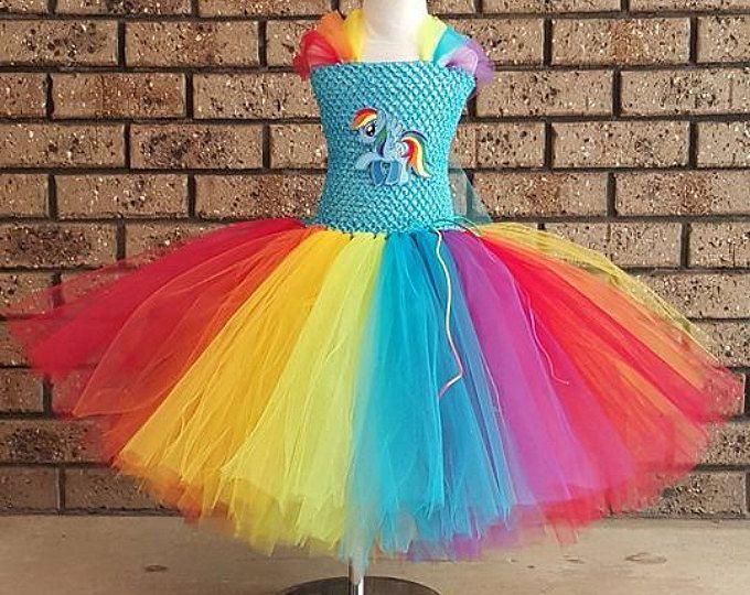 Pony Tutu Vestido de Boutique inspirado - longitud tamaño de My Little Pony inspirado té hecho a mano Tutu vestido - arco iris