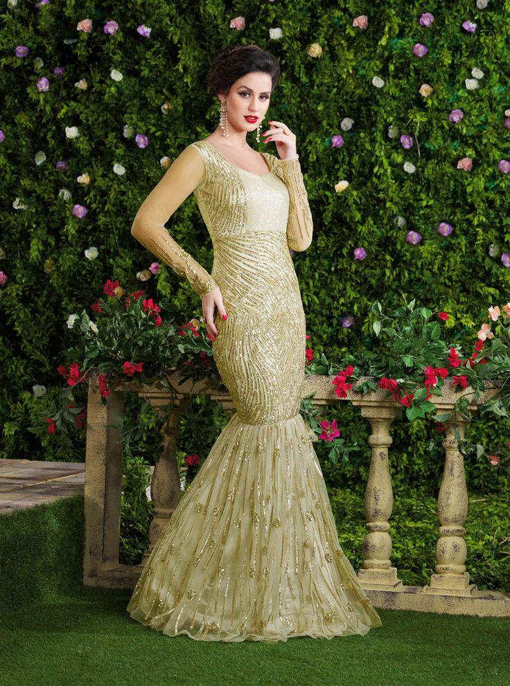 Beige Net Fish Cut Designer Gown 63485
