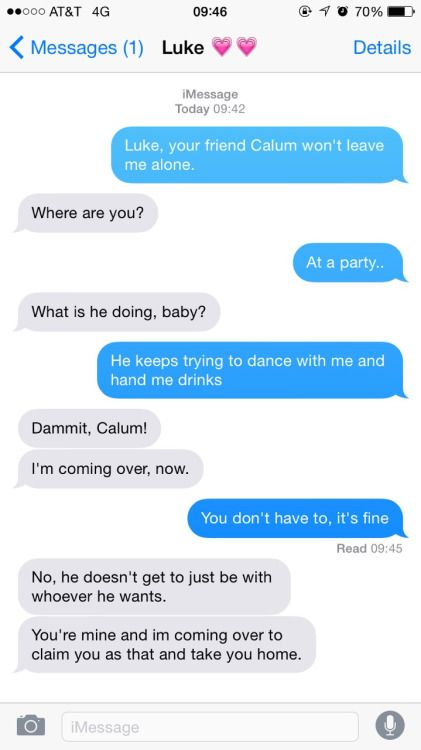 protective boyfriend texts. Really cute but really overprotective. It's adorable