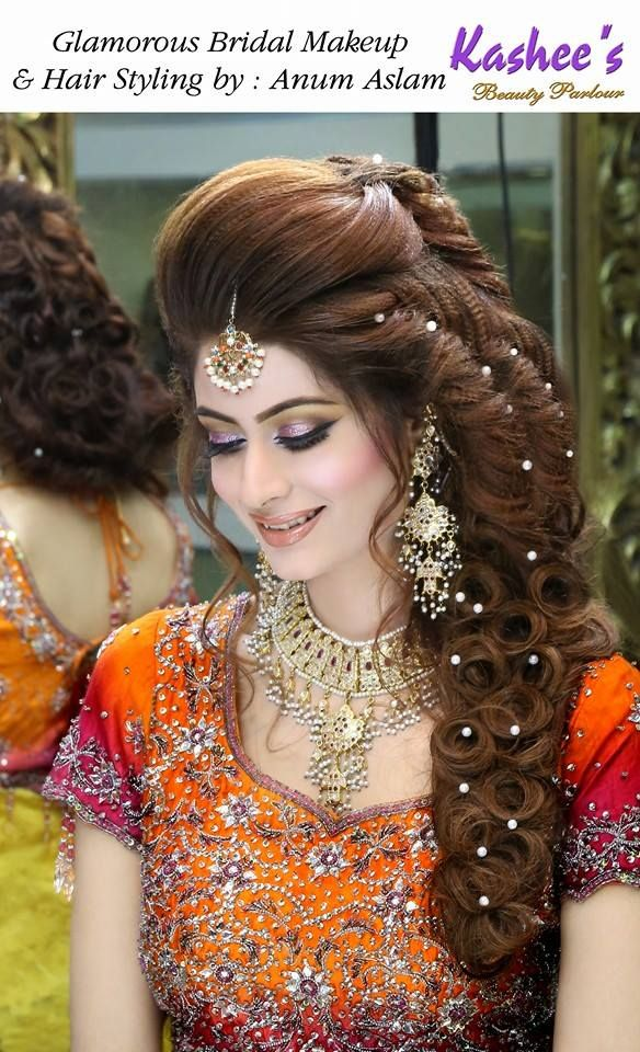 Glamorous bridal makeup and hair styling done by Anum Aslam More