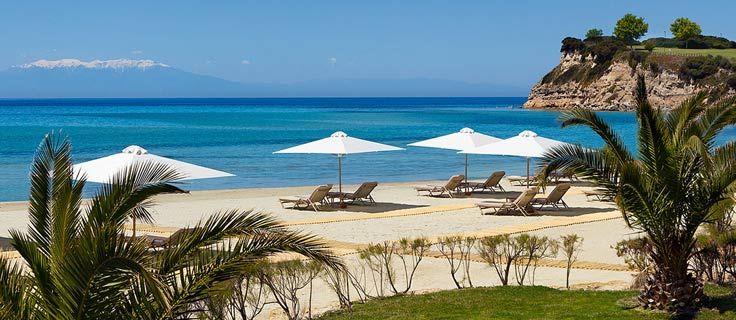 Sani beach with Olympus view. Chalkidiki, Northern Greece.