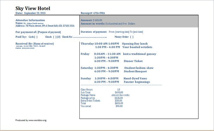 Hotel Invoice DOWNLOAD at http://worddox.org/5-ms-word-excel-editable-invoices/