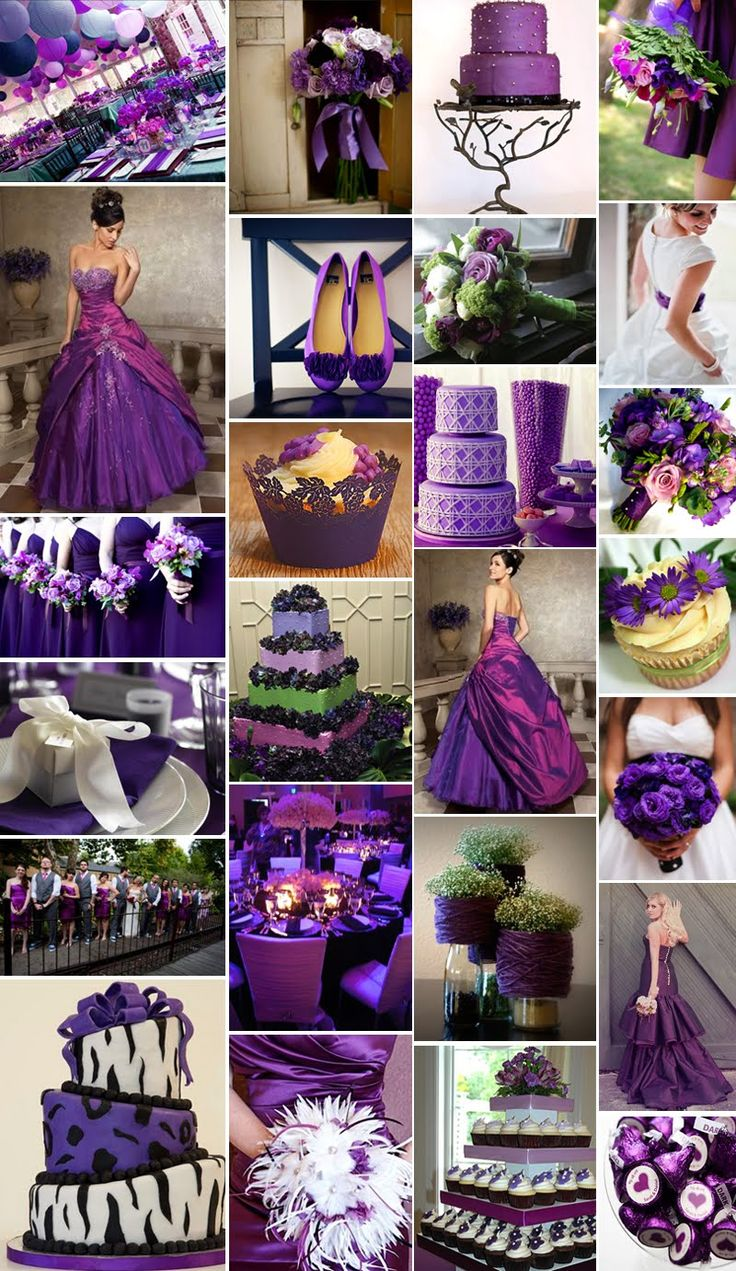 silver and purple wedding | Black and Purple Wedding Decorations