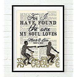 Personalized Vintage Bible page Wedding Art - For I have found the one Song of Solomon 3:4 verse scripture Christian art print, UNFRAMED, dictionary wall & home decor poster, wedding gift
