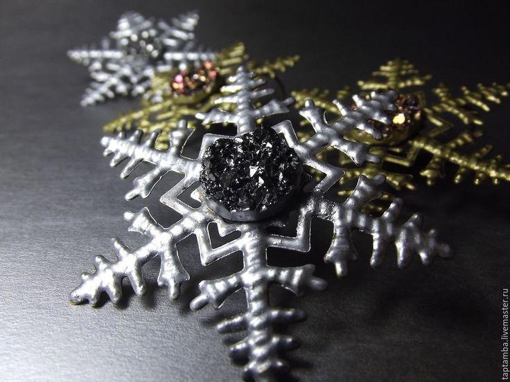 Крупные серьги Снежинки - серебряный, золотистый цвет, серебристые серьги, золотистые серьги