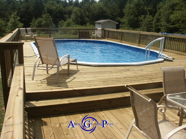 Two levels above ground pool decks pinterest decks for Pool deck design plans