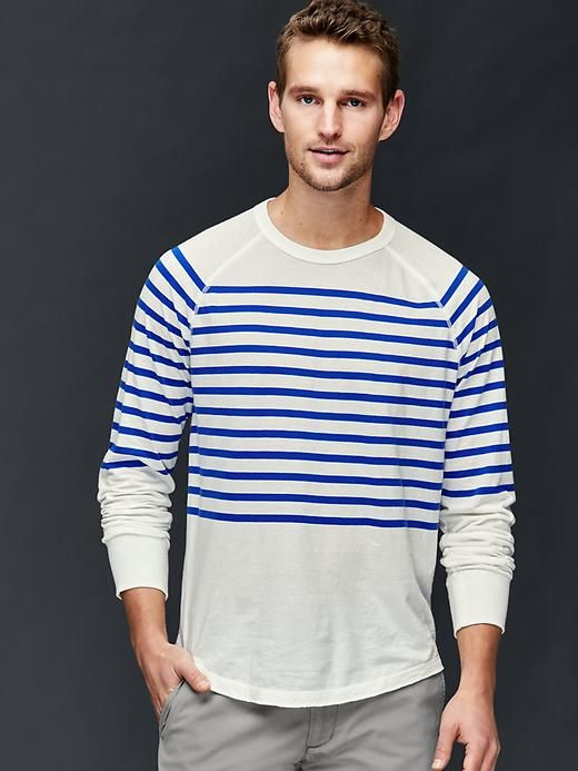 Vintage wash stripe long sleeve t-shirt - Garment-dyed and washed with a special technique for incredible softness and true color.