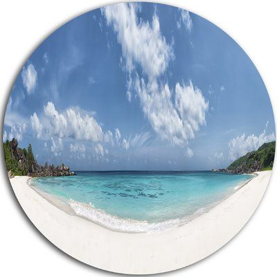 "DesignArt 'Majestic Seychelles Beach Panorama' Photographic Print on Metal Size: 11"" H x 11"" W x 1"" D"