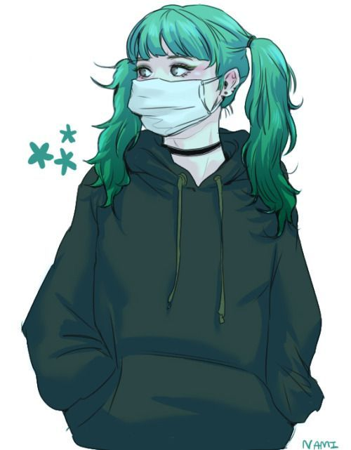 Female/ Green Hair/ Dark Green Hoodie/ Stars/ Two Ponytails/ Choker/ Mask