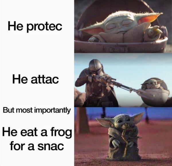 Frog Snacks Are The Best Snacks R Babyyoda Baby Yoda Grogu Yoda Meme Star Wars Memes Funny Pictures