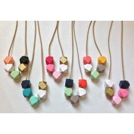 Painted wood geometric beaded necklace diy