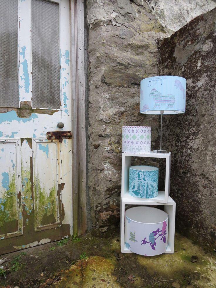 Light shades www.juliewilliamsondesigns.co.uk #toile #scenes #pattern #textile #colour #sea #crofting #fishing #shetland #handmade #print #digitalprint #interiordesign #interiors #fairIsle #scotland #British #home #lampshades