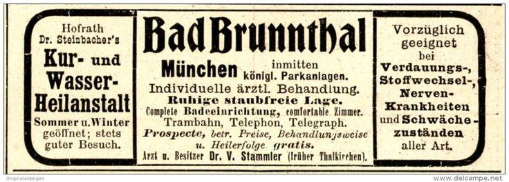 Original-Werbung/ Anzeige 1898 - BAD BRUNNTHAL / MÜNCHEN - ca. 90 X 35 mm