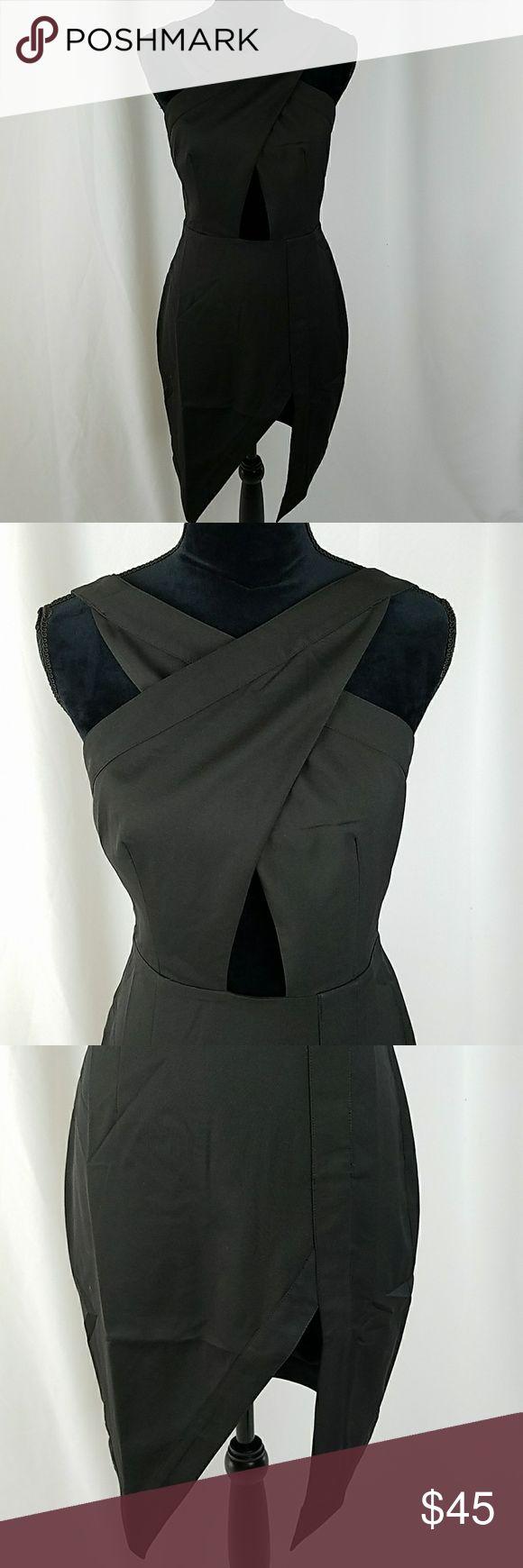"NBD women M black mini dress clubwear front slit NBD women M black mini dress clubwear front slit, 96% polyester, 4% elastane, hand wash, MSRP $180.  Waist side to side: 14.5"" Length: 39"" NBD Dresses"