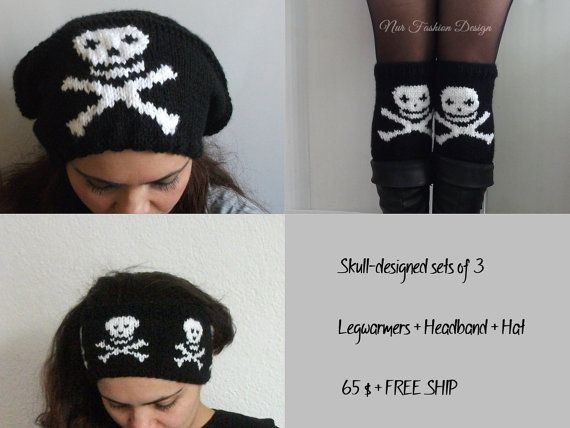 FREE SHIPPING  Skulls-designed sets of 3 by nurfashiondesign