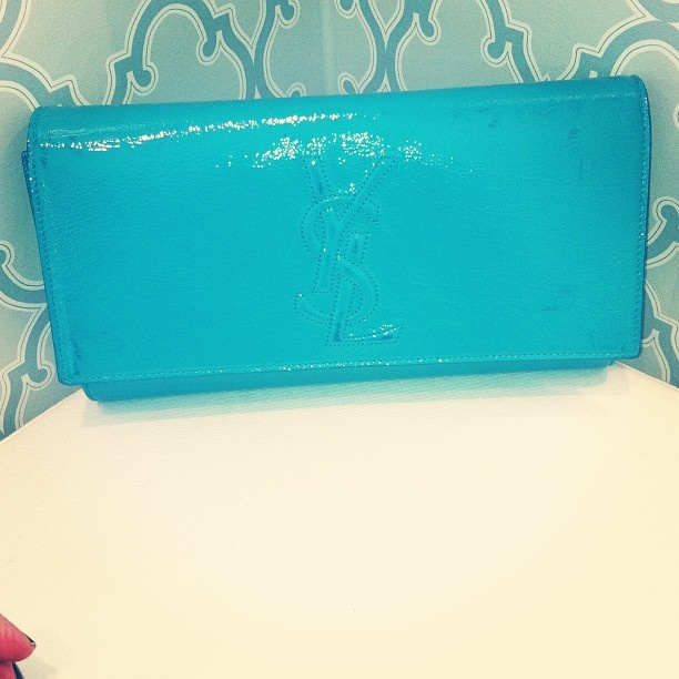 Stunning for the summer! #ysl #clutch #turquoise #patent 475$ @remixclothing #laboutiqueremix #monteal #toronto - @remixclothing- #webstagram
