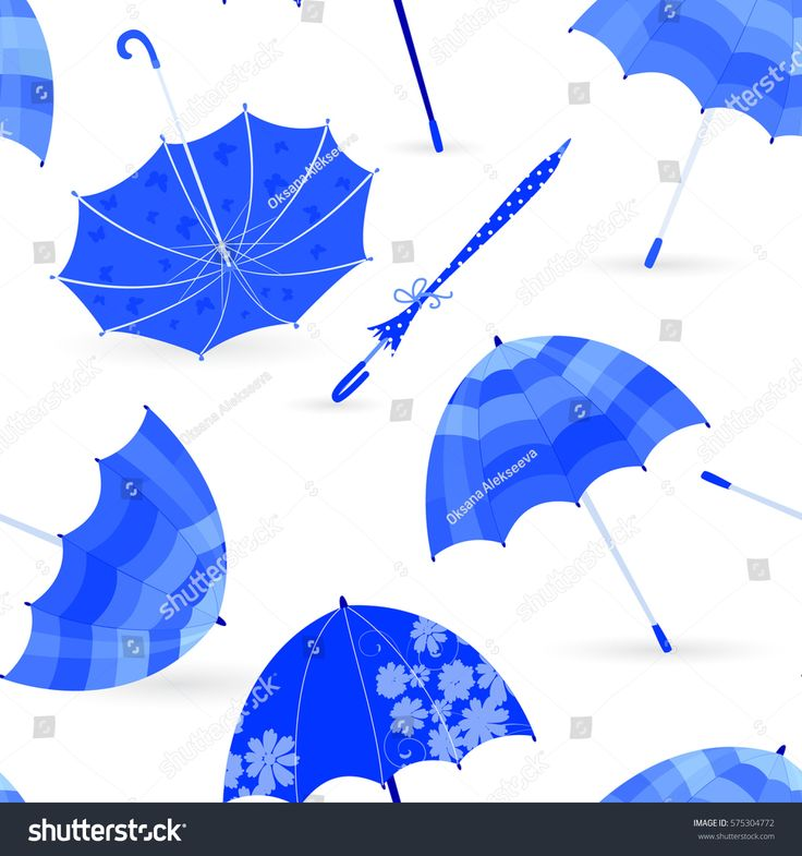 monochrome fashion seamless texture with blue umbrellas for your design