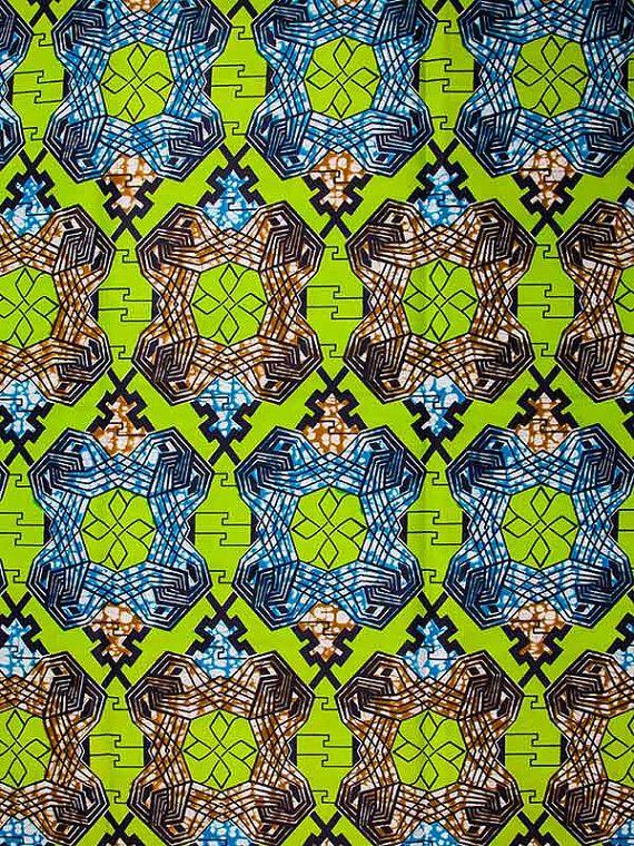 African Ankara Fabric Super Deluxe Wax Green by Africanpremier