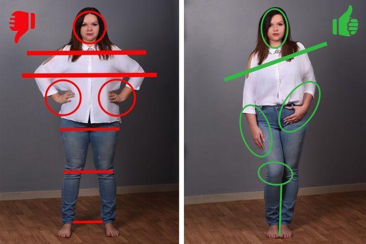 Runde Frauen: 4 entschlüsselte Foto-Posen, um zu lernen, wie man eine Silhouette wertet.