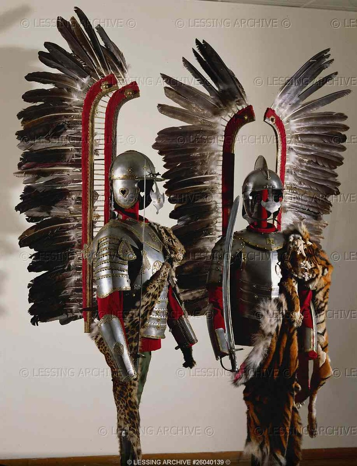 Two sets of hussars armour, Polish, second half 17th. Helmets have a visor and a nose-iron; the breast plate is tied on the back by two leather straps. Leopard skins around the shoulders. The wings, made of eagle feathers, were fixed to the saddle.