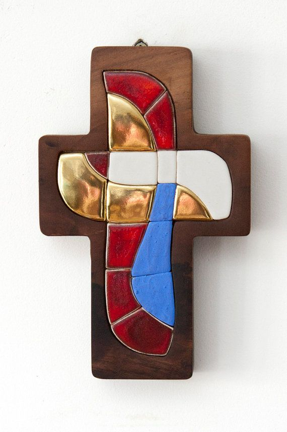 Cross  Original artwork hand made ceramic mosaic by LuboMichalko, - Sacred christian art - €100.00