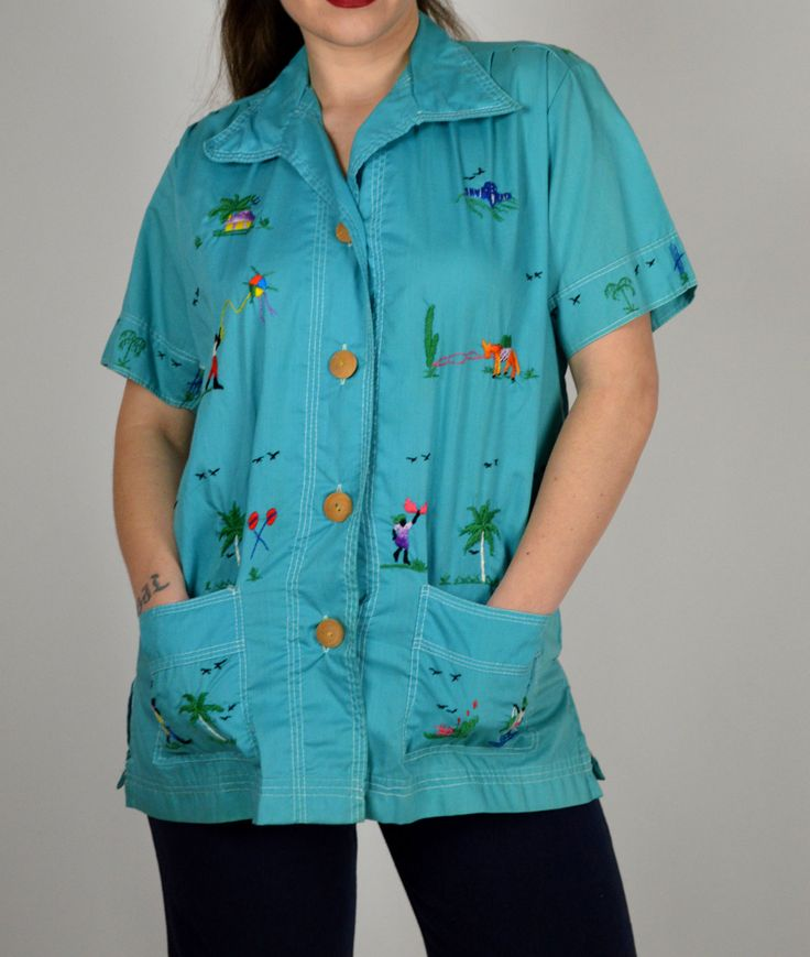 Women's Vintage Shirt, Embroidered Shirt, Turquoise Shirt, Button Down, Spring Shirt, Summer Shirt, Casual Shirt, Short Sleeve Shirt by BuffaloGalVintage on Etsy