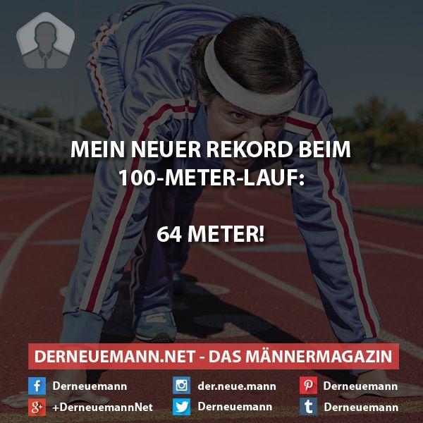 Neuer Rekord beim 100m-Lauf #derneuemann #humor #lustig #spaß #sprüche #sport #laufen