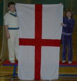 Upfront Cricket Academy UPFRONT ENGLAND FLAG (cricket shirt ball bat rugby football) <b> ENGLAND FLAG Giant St Georges Flag.  St George flag. fantastic quality. 100% Polyester material with brass eyelets for hanging up. (Barcode EAN = 5055261101022) http://www.comparestoreprices.co.uk/cricket-equipment/upfront-cricket-academy-upfront-england-flag-cricket-shirt-ball-bat-rugby-football-.asp