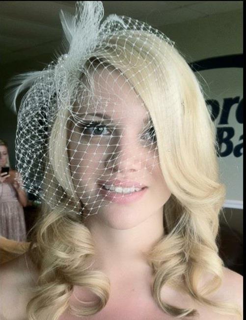 Wedding Hair Down With Birdcage Veil