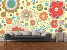 Abstract Floral - Colourful wall mural