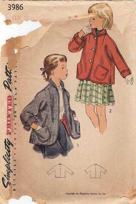 1950s Simplicity 3986 Vintage Sewing Pattern by midvalecottage