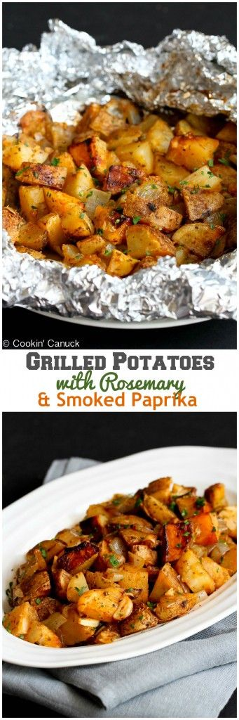Grilled Rosemary Onion Potatoes ~ This is the side dish recipe to beat all side dishes. Grilled potatoes are golden brown and tender, and steeped in the flavors of grilled onions, garlic, rosemary and smoked paprika. Click through for recipe!