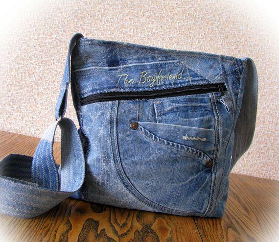jeans bag denim bag  pathwork bag shoulder от klaptykart на Etsy