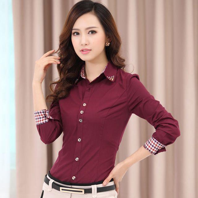 Mujeres cintura delgada de manga larga camisa para mujer Collar de diamantes de imitación del manguito de tela escocesa OL Formal blusas camisetas mujeres Tops 12072