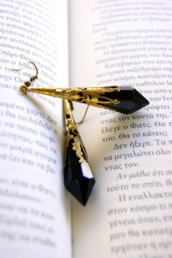 Antique  Goth Black earrings by RenatasArt on Etsy, €20.00